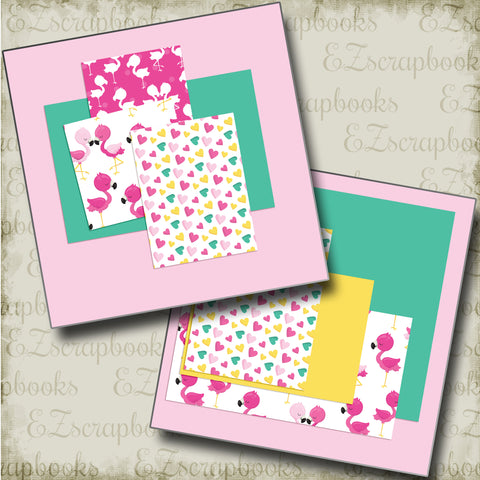Cute Flamingos NPM - 4881 - EZscrapbooks Scrapbook Layouts Beach - Tropical, Summer, Swimming - Pool