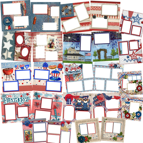 4th of July Collection 2 -  Digital Bundle - 24 Digital Scrapbook Pages - INSTANT DOWNLOAD