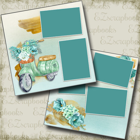 Summer Scooter - 4854 - EZscrapbooks Scrapbook Layouts Beach - Tropical, Swimming - Pool