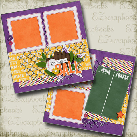 Having a Ball - 4510 - EZscrapbooks Scrapbook Layouts softball, Sports
