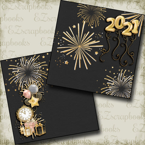 New Years Fireworks 2021 NPM - 5219 - EZscrapbooks Scrapbook Layouts Birthday, New Year's, Other