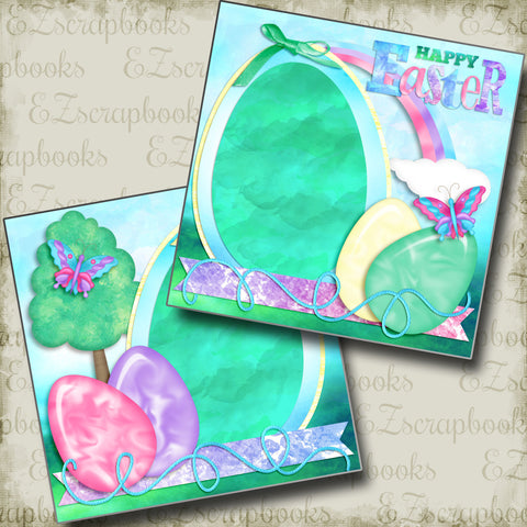 Happy Easter - Eggs - 3898 - EZscrapbooks Scrapbook Layouts Spring - Easter