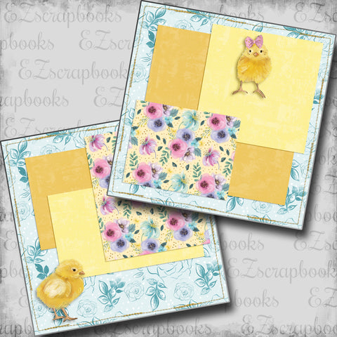 Easter Chicks NPM - 5417 - EZscrapbooks Scrapbook Layouts Baby - Toddler, Spring - Easter
