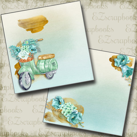 Summer Scooter NPM - 4855 - EZscrapbooks Scrapbook Layouts Beach - Tropical, Swimming - Pool