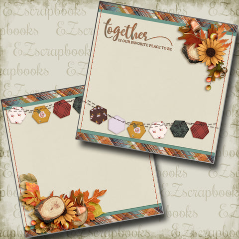 Together NPM - 4395 - EZscrapbooks Scrapbook Layouts Fall - Autumn, Family, Thanksgiving
