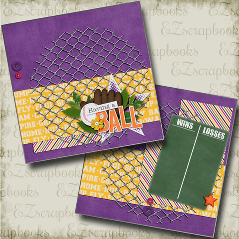 Having a Ball NPM - 4511 - EZscrapbooks Scrapbook Layouts softball, Sports