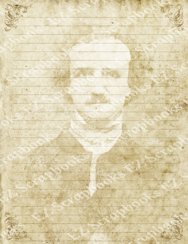 Poe Stationary Paper 1 - 9069 - EZscrapbooks Scrapbook Layouts Edgar Allen Poe, Halloween