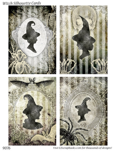 Witch Silhouette Cards - 9076 - EZscrapbooks Scrapbook Layouts Halloween