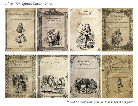 Alice Bookplates Cards - 9172 - EZscrapbooks Scrapbook Layouts Wonderland