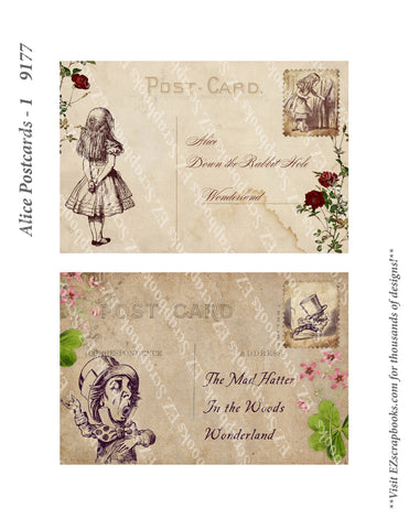 Alice Postcards 1 - 9177 - EZscrapbooks Scrapbook Layouts Wonderland