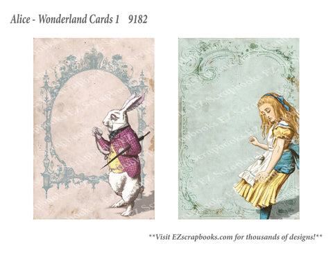 Wonderland Cards 1 - 9182 - EZscrapbooks Scrapbook Layouts Wonderland