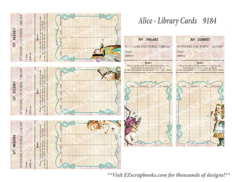 Alice Library Cards - 9184 - EZscrapbooks Scrapbook Layouts Wonderland