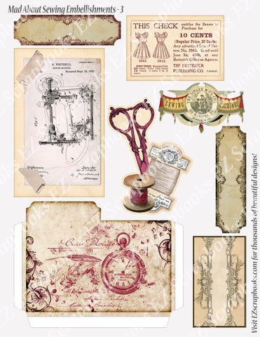 Mad About Sewing Embellishments 3 - 9198 - EZscrapbooks Scrapbook Layouts Sewing