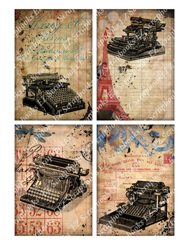 Grunge Typewriter Cards - 9206 - EZscrapbooks Scrapbook Layouts Cards