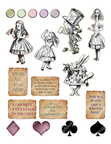 Alice Embellishments - 9230 - EZscrapbooks Scrapbook Layouts Wonderland