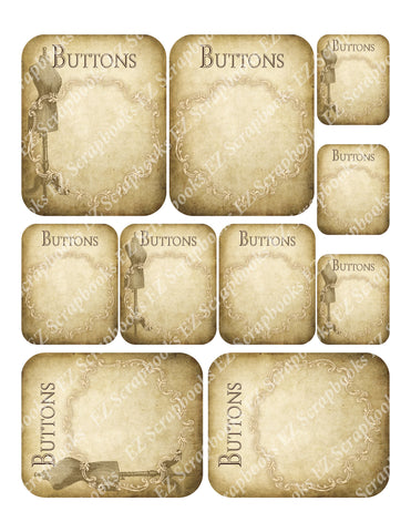 Button Cards - 9256 - EZscrapbooks Scrapbook Layouts Cards, Sewing