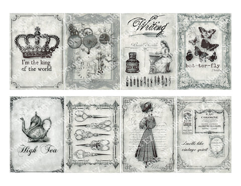 Shabby Memories ATC Greytone - 9329 - EZscrapbooks Scrapbook Layouts Cards