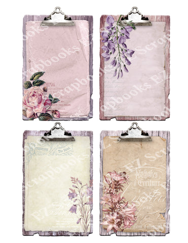 Shabby Flowers Clipboards Silver - 9359 - EZscrapbooks Scrapbook Layouts Cards, Flowers