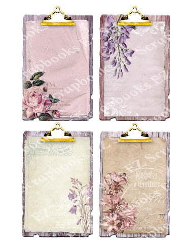 Shabby Flowers Clipboards Gold - 9360 - EZscrapbooks Scrapbook Layouts Cards, Flowers