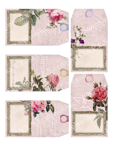 Roses Tags - 9365 - EZscrapbooks Scrapbook Layouts Flowers