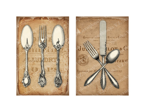 Vintage Cutlery Cards 2 - 9377 - EZscrapbooks Scrapbook Layouts