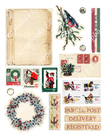 Vintage Christmas Embellishments 10 - 9387 - EZscrapbooks Scrapbook Layouts Christmas