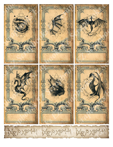 Dragon Cards - 9403 - EZscrapbooks Scrapbook Layouts Cards, Mythical