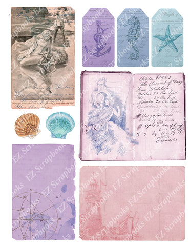 Mermaids Embellishments 6 - 9445 - EZscrapbooks Scrapbook Layouts Beach - Tropical, Mythical, Nautical