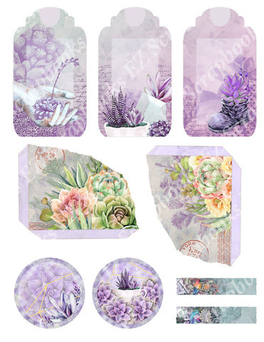 Succulents Embellishments 2 - 9586 - EZscrapbooks Scrapbook Layouts