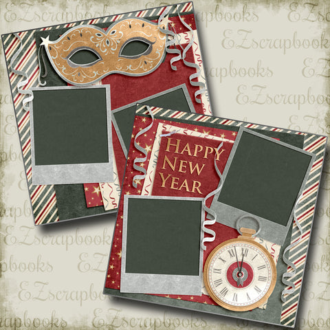 Happy New Year Red - 4560 - EZscrapbooks Scrapbook Layouts New Year's