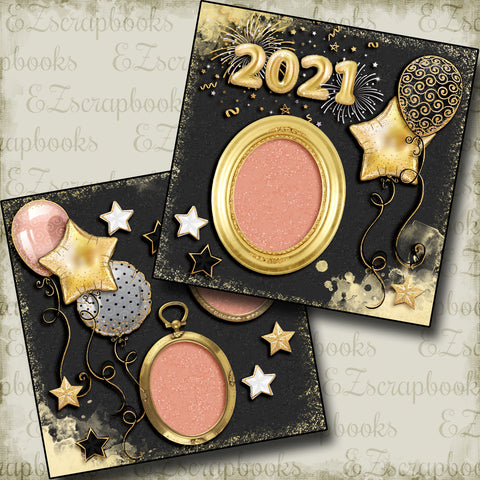 New Years Balloons 2021 - 5222 - EZscrapbooks Scrapbook Layouts Birthday, New Year's, Other