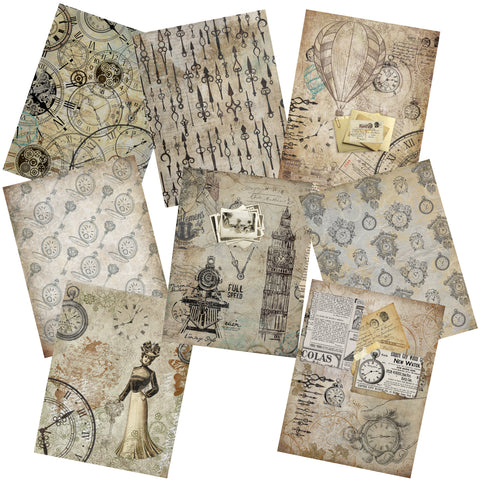 Clocks & Watches Paper Pack - 7248 - EZscrapbooks Scrapbook Layouts Journals