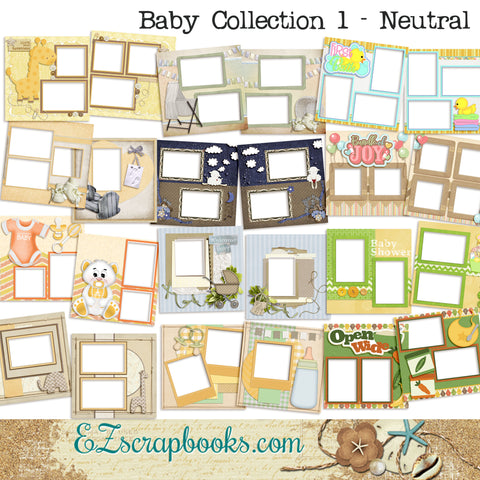 Bably Collection 1 - Neutral -  Digital Bundle - 24 Digital Scrapbook Pages - INSTANT DOWNLOAD