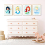 Fairy Tale Princesses Wall Art Prints - 22 Prints - Color Background - 8061