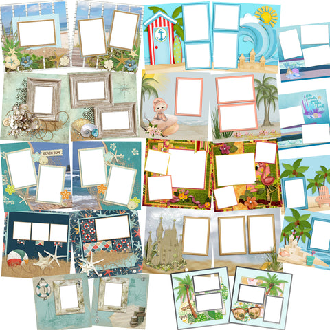 Beach Collection - 5 -  Digital Bundle - 24 Digital Scrapbook Pages - INSTANT DOWNLOAD