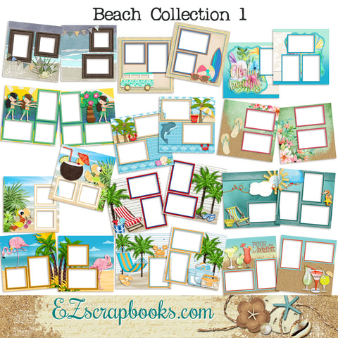 Beach Collection 1 -  Digital Bundle - 24 Digital Scrapbook Pages - INSTANT DOWNLOAD