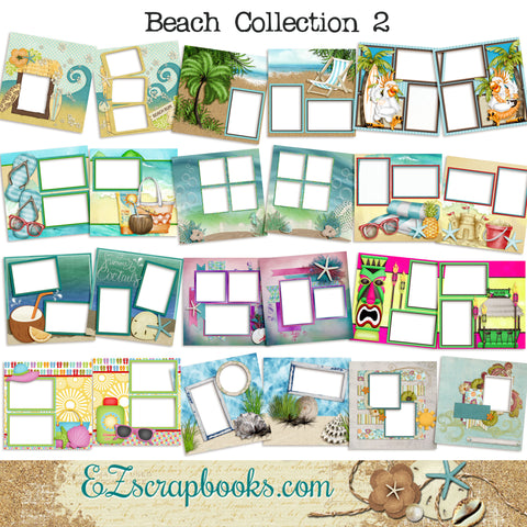 Beach Collection 2 -  Digital Bundle - 24 Digital Scrapbook Pages - INSTANT DOWNLOAD
