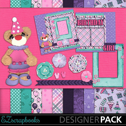 Happy Birthday Girl Bear Digital Kit - INSTANT DOWNLOAD - EZscrapbooks Scrapbook Layouts Birthday, Kits
