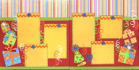 Birthday Streamers - 161 - EZscrapbooks Scrapbook Layouts Birthday
