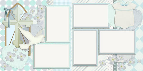 Boy Baptism - 423 - EZscrapbooks Scrapbook Layouts Baby - Toddler, Faith - Religious, Other