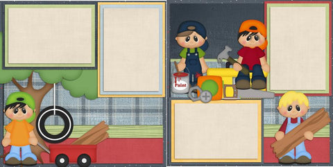 Boys Being Boys - 424 - EZscrapbooks Scrapbook Layouts Boys, Family, Kids, Outside Play, Summer