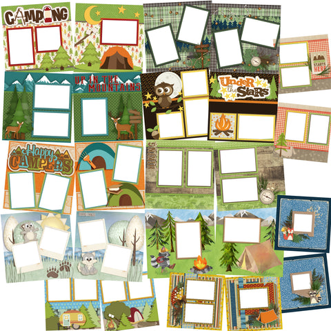 Camping Collection 1 -  Digital Bundle - 24 Digital Scrapbook Pages - INSTANT DOWNLOAD