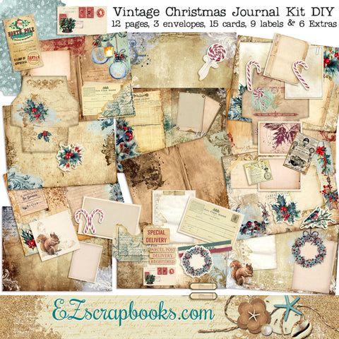 Vintage Christmas Journal Blue DIY Kit - 7119