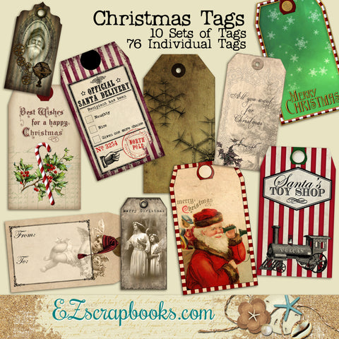 Christmas Tag Set - EZscrapbooks Scrapbook Layouts Christmas