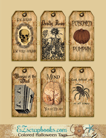 Colored Halloween Tags - 9012 - EZscrapbooks Scrapbook Layouts Halloween