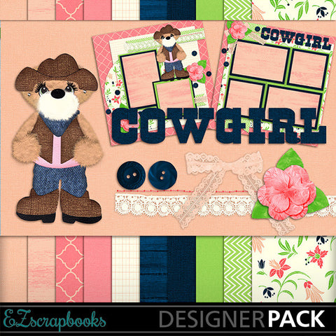 Cowgirl Bear Digital Kit - INSTANT DOWNLOAD - EZscrapbooks Scrapbook Layouts Kits, Western - Cowboy