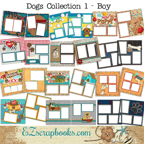 Dogs Collection 1 - Boy -  Digital Bundle - 24 Digital Scrapbook Pages - INSTANT DOWNLOAD