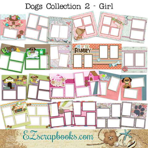 Dogs Collection 2 - Girl -  Digital Bundle - 24 Digital Scrapbook Pages - INSTANT DOWNLOAD