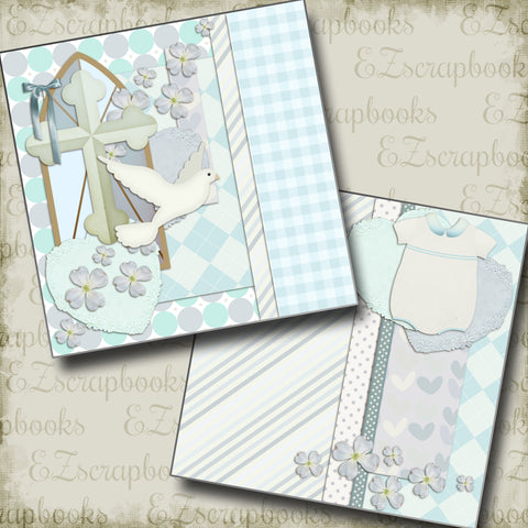 Boy Baptism NPM - 2638 - EZscrapbooks Scrapbook Layouts Baby - Toddler, Baptism, Faith - Religious