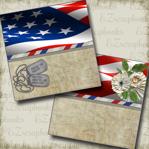 Dog Tags NPM - 2633 - EZscrapbooks Scrapbook Layouts July 4th - Patriotic, Military